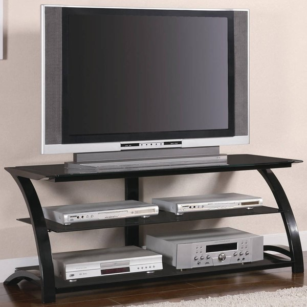 Contemporary Black Metal Glass Open Storage TV Stand/Armoire CST-700664
