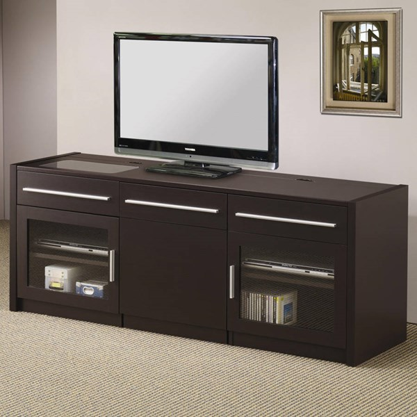 Contemporary Cappuccino Wood Glass TV Stand/Armoire CST-700674