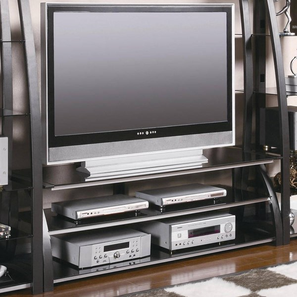 Contemporary Black Silver Metal Glass TV Stand/Armoire CST-700681