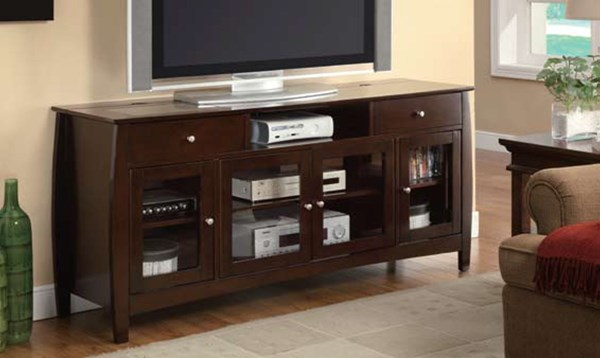 Espresso Wood Glass Horizontal Chest TV Console CST-700693