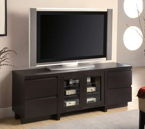 Contemporary Cappuccino Wood Glass TV Console CST-700695