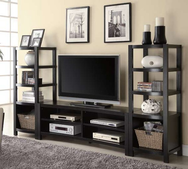 Cappuccino Wood Storage Shelves TV Console CST-700697
