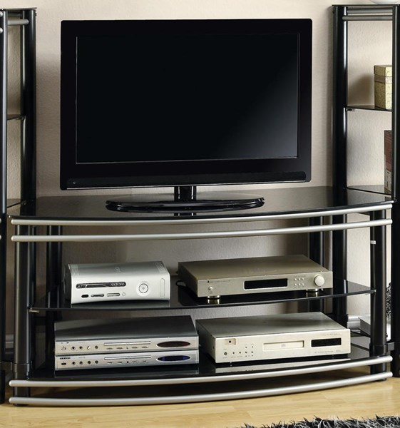 Black Silver Metal Open Storage TV Stand CST-700722
