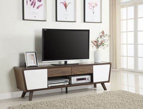 Coaster Furniture Dark Walnut Glossy White TV Console CST-700793