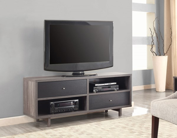 Coaster Furniture Black Gray Shelves and Drawers TV Console CST-700795