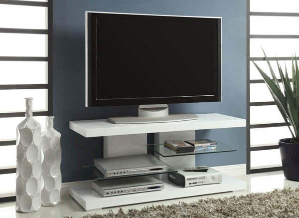 Coaster Furniture White Wood Glass Open Storage TV Stand CST-700824