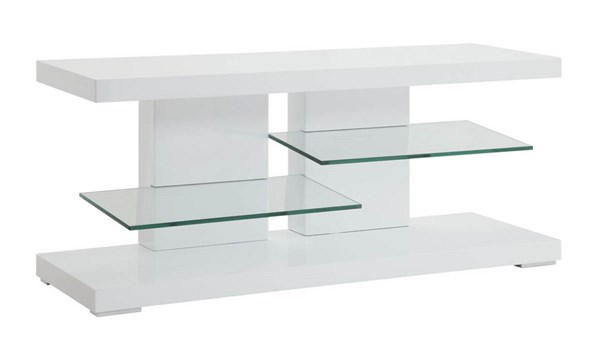 Coaster Furniture Glossy White Open Storage TV Stand CST-700824