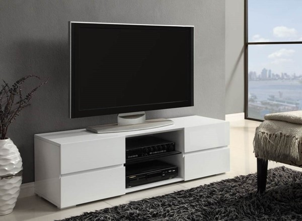 Contemporary White Wood Glass Drawer TV Stand CST-700825