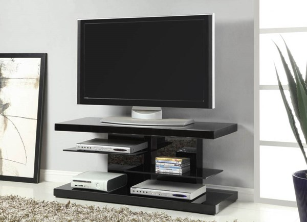 Coaster Furniture Black Wood Open Storage TV Stand CST-700840