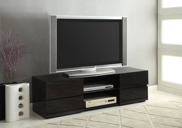 Contemporary Black Wood Glass Drawer TV Stand CST-700841