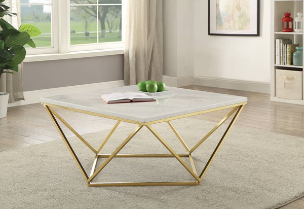Coaster Furniture White Faux Marble Top Brass Base Coffee Table CST-700846