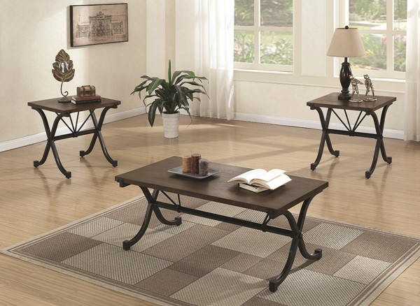 Coaster Furniture Brown Wood Top Black Metal Legs 3pc Occasional Set CST-700866