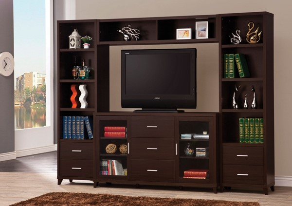 Contemporary Brown Cappuccino Wood TV Console CST-700881