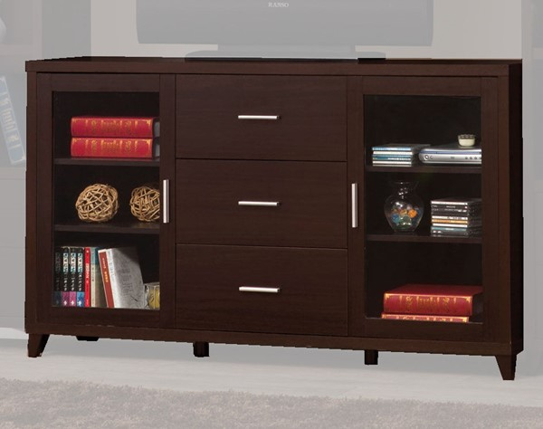 Coaster Furniture Cappuccino Wood 3 Drawers TV Console CST-700881