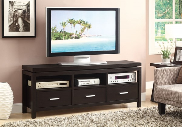 Casual Brown Cappuccino Wood Drawers TV Console CST-700885