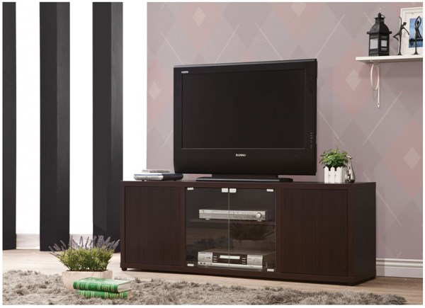 Casual Brown Cappuccino Wood Glass TV Console CST-700886
