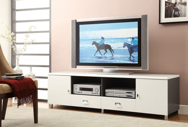 Contemporary White Gunmetal Wood TV Stand CST-700910