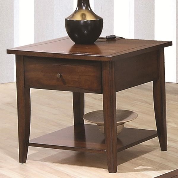 Transitional Bourbon Wood Storage Drawer End Table CST-700957