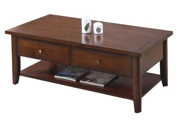 Transitional Bourbon Wood Rectangle Coffee Table CST-700958