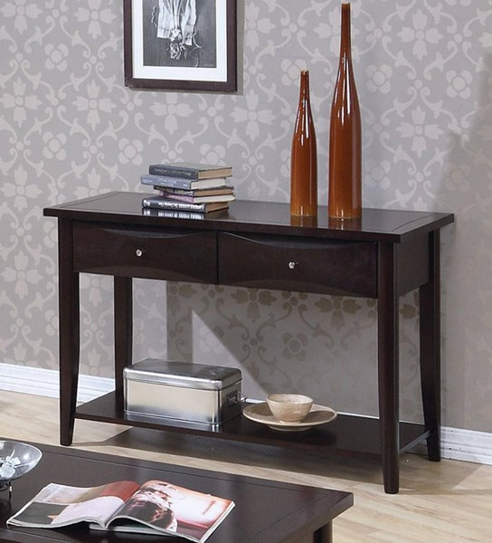 Transitional Cappuccino Wood Storage Drawer Sofa Table CST-700969