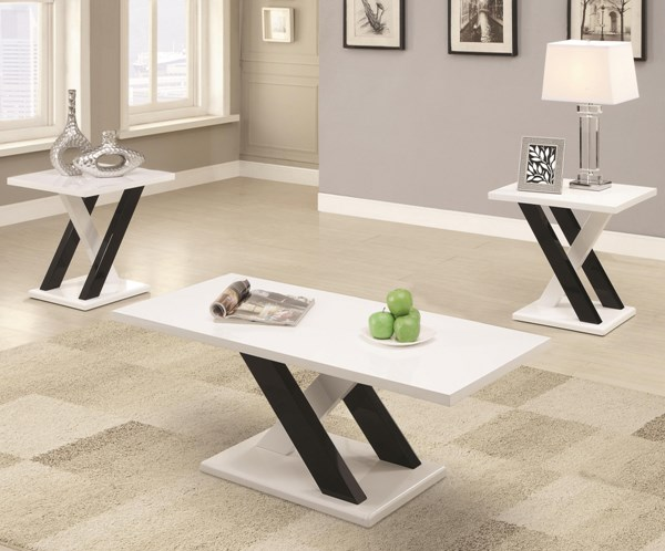 Contemporary Black White Wood Rectangle 3pc Occasional Set CST-701011