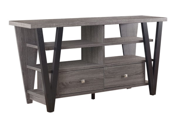 Coaster Furniture Black Gray Open Shelves and Drawers TV Console CST-701015