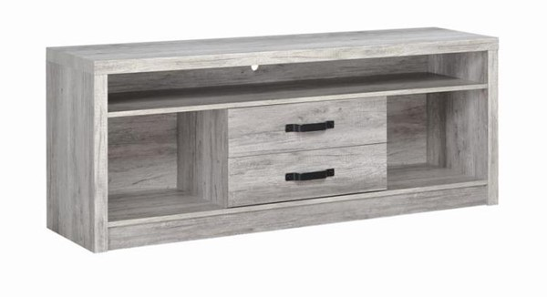 Coaster Furniture Grey Wood Two Drawer and Three Shelf TV Console CST-701024