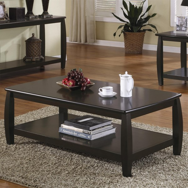 Transitional Espresso Wood Shelves Coffee Table CST-701078