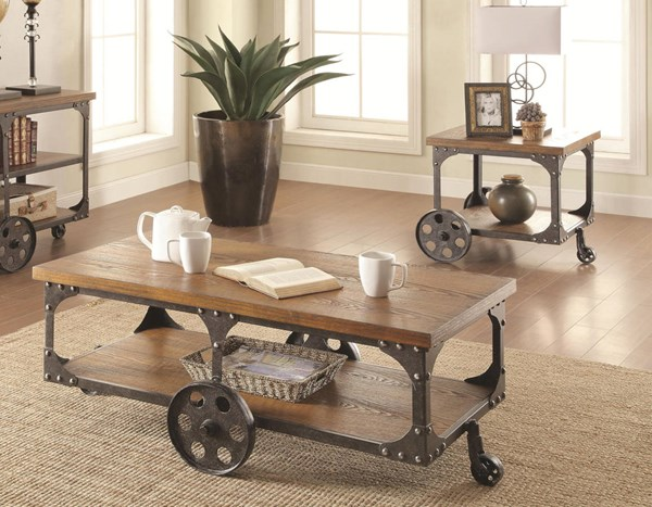 Traditional Brown Wood Metal 3pc Coffee Table Set W/Shelf CST-701127-28-29-OCT-S