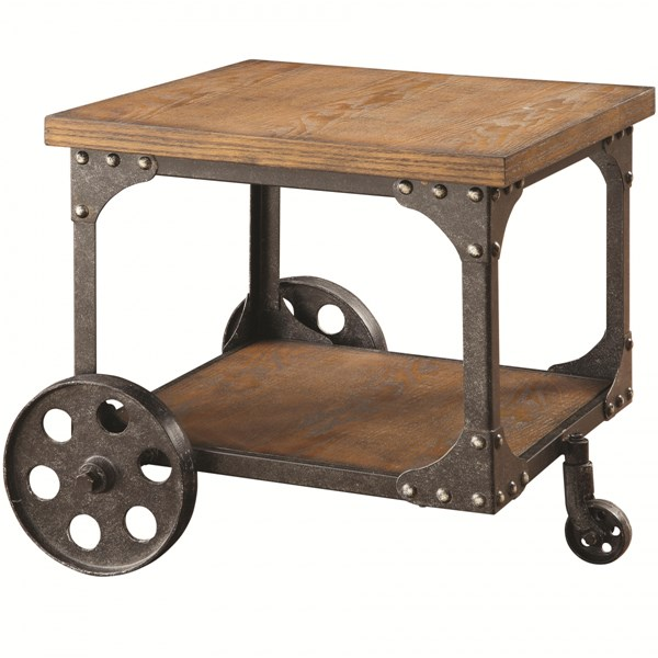 Traditional Brown Wood Metal End Table W/Shelf CST-701127