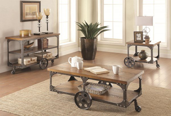 Traditional Brown Wood Metal Coffee Table Set CST-701127-28-29-OCT