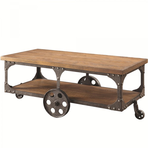 Traditional Brown Wood Metal Coffee Table CST-701128
