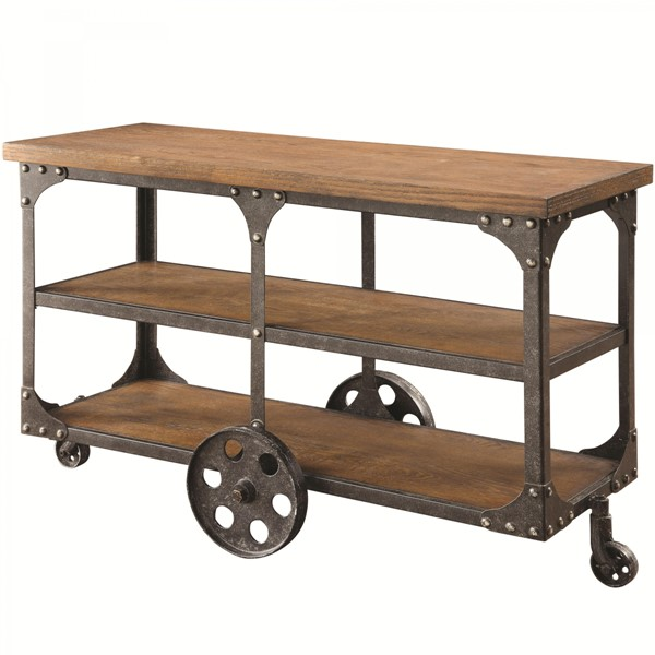 Traditional Brown Wood Metal Wheels Sofa Table W/Shelf CST-701129