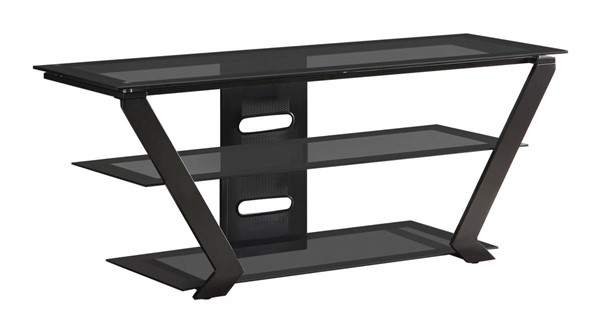 Coaster Furniture Black Glass Top TV Stand Armoire CST-701370