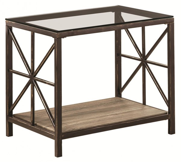Rustic Country Black Metal Glass Wood End Table w/Shelf CST-701397