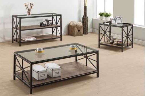 Rustic Country Black Metal Glass Wood Coffee Table Set CST-701397-98-99-OCT