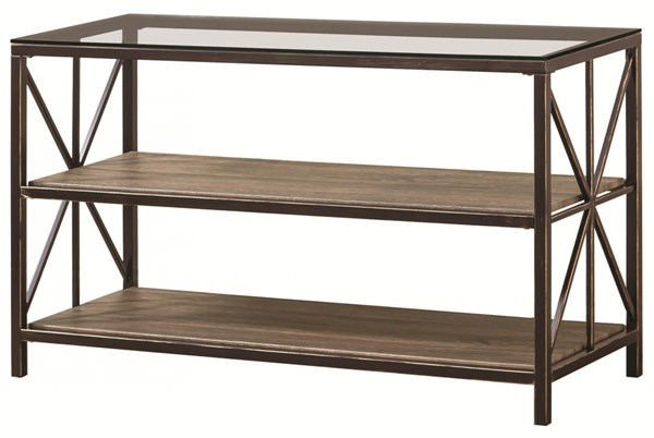 Rustic Country Black Metal Glass Wood Sofa Table w/Shelf CST-701399
