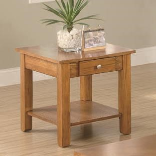 Traditional Oak Wood Storage Drawer End Table CST-701437