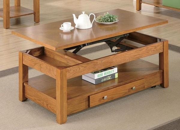 Traditional Oak Wood Lift Top Coffee Table CST-701438