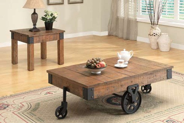 Natural Wood Wood 2pc Coffee/End Table Set CST-701457-S