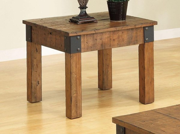 Rustic Natural Wood Wood Square End Table CST-701457
