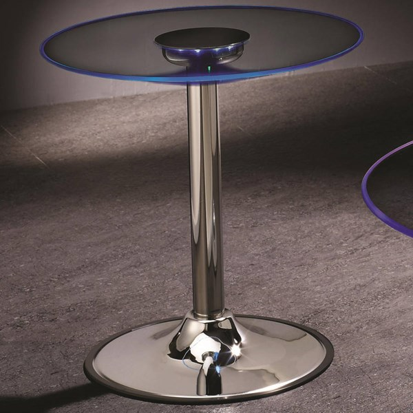 Transitional Chrome Metal Glass End Table CST-701497