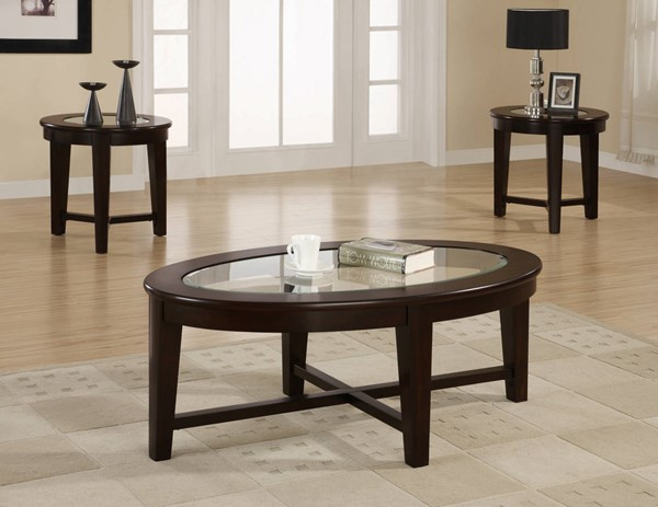 Coaster Furniture Cappuccino Wood Oval 3pc Coffee Table Set CST-701511
