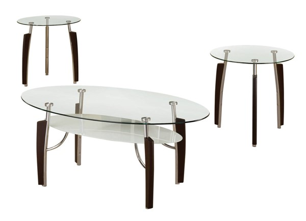 Coaster Furniture Cappuccino Glass Top 3pc Coffee Table Set CST-701558