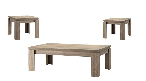 Contemporary Weathered Brown Wood 3pc Occasional Set CST-701646
