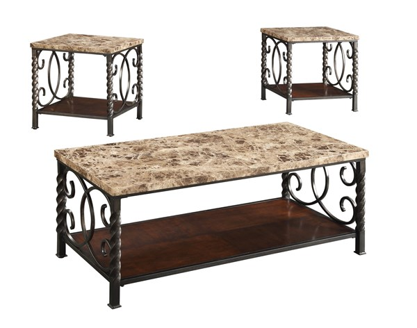 Traditional Brown Metal Wood 3pc Occasional Set CST-701695
