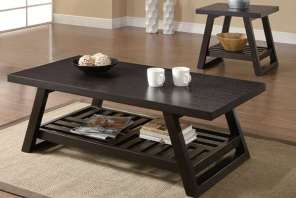 Casual Brown Wood Shelves Coffee Table Set CST-701867-Set