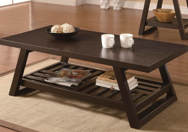 Casual Brown Wood Coffee Table ( L 47.25 X W 23.25 X H 16.5 ) CST-701868