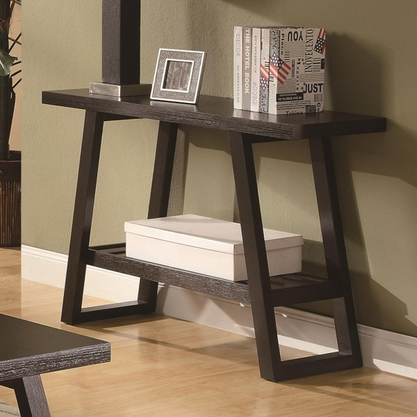 Casual Brown Wood Rectangle Sofa Table W/Shelves CST-701869