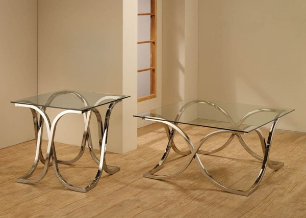 Contemporary Chrome Metal Glass Coffee Table Set CST-G701918